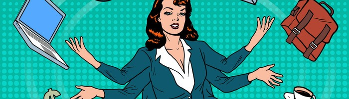business-superwoman-time-management-vector