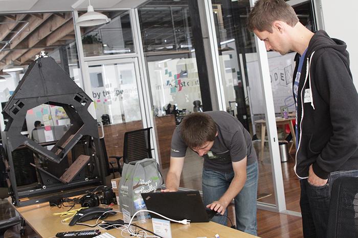 CODEX Shelfie guys with book scanner
